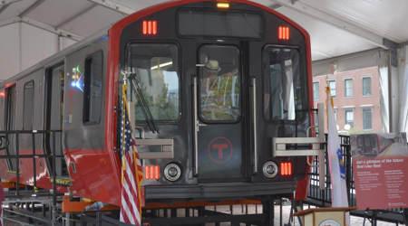 Massachusetts Gov. Baker unveils Red Line rail-car mock-up
