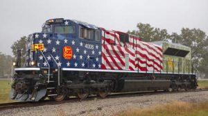 KCS locomotive sports patriotic paint scheme to honor vets